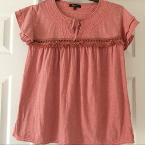FRYE S Smocked Stitched Peasant Pink Blouse
